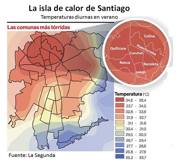 La isla de calor de Santiago
