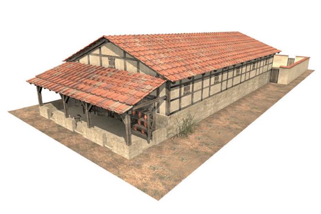 Reconstrucción de una casa típica en los asentamientos y ciudades en las provincias del noroeste del Imperio Romano. Ver de.wikipedia.org  Streifenhaus)